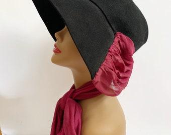 1930s / 1940s Vintage Black Felt Wide Brim Hat with Silk Scarf
