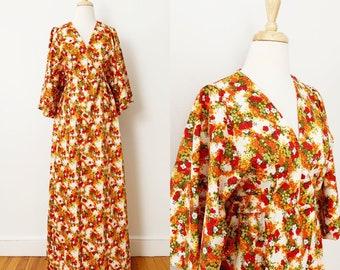1970s / 70s Vintage Orange Floral Kimono-Style Maxi Dress by Hilo Hattie / Small