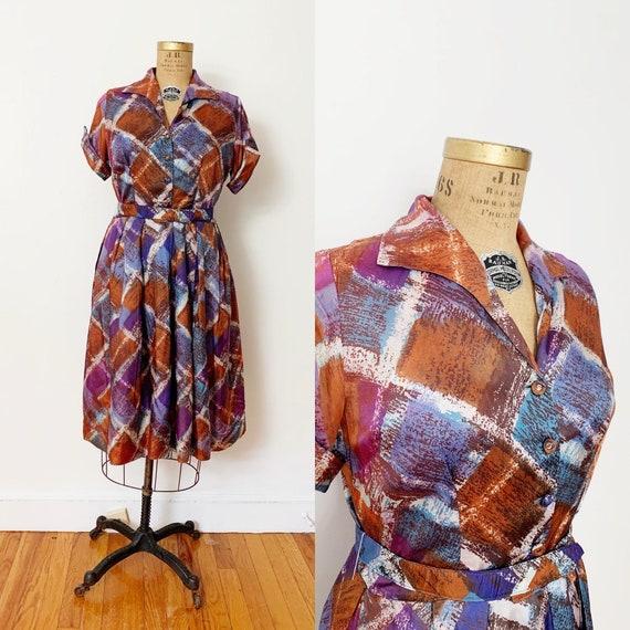 1950s / 50s Vintage Abstract Argyle Shirtwaist Dre