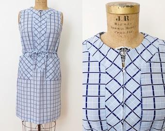1960s / 60s Vintage Blue Windowpane Shift Dress / House Dress / Medium