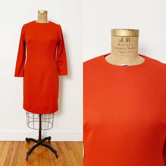 1960s / 60s Vintage Pumpkin Orange Sheath Dress /
