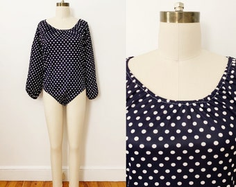 1970s / 70s Vintage Navy Polka Dot Long Sleeve Bodysuit / Medium