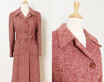 1970s / 70s Pink Purple Tweed Wool Belted Trench Coat / Small / Medium