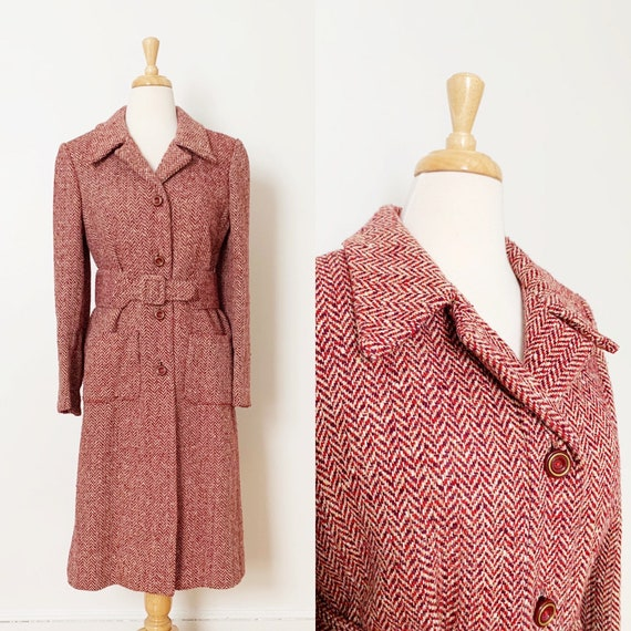 1970s / 70s Pink Purple Tweed Wool Belted Trench … - image 1