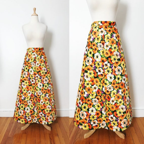 Sale 70/'s Vintage Boho Maxi Skirt Quilted Multi Patterned Sz Small
