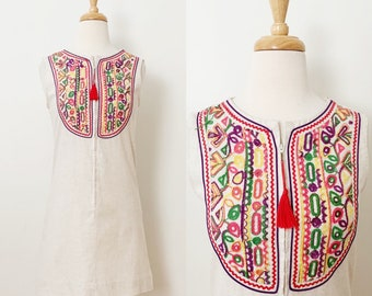 1960s / 60s Vintage Embroidered Linen Zip Front Sheath Dress / Extra Small XS