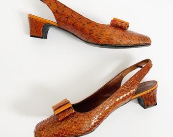 1960s / 60s Vintage Mod Brown Snakeskin Leather Slingback Low Heel Shoes / US 10 /