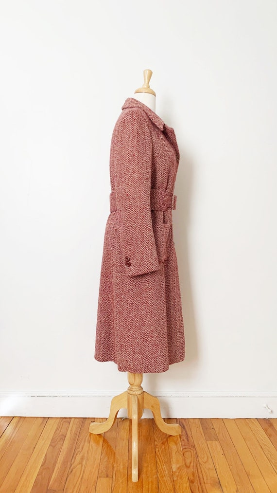 1970s / 70s Pink Purple Tweed Wool Belted Trench … - image 4