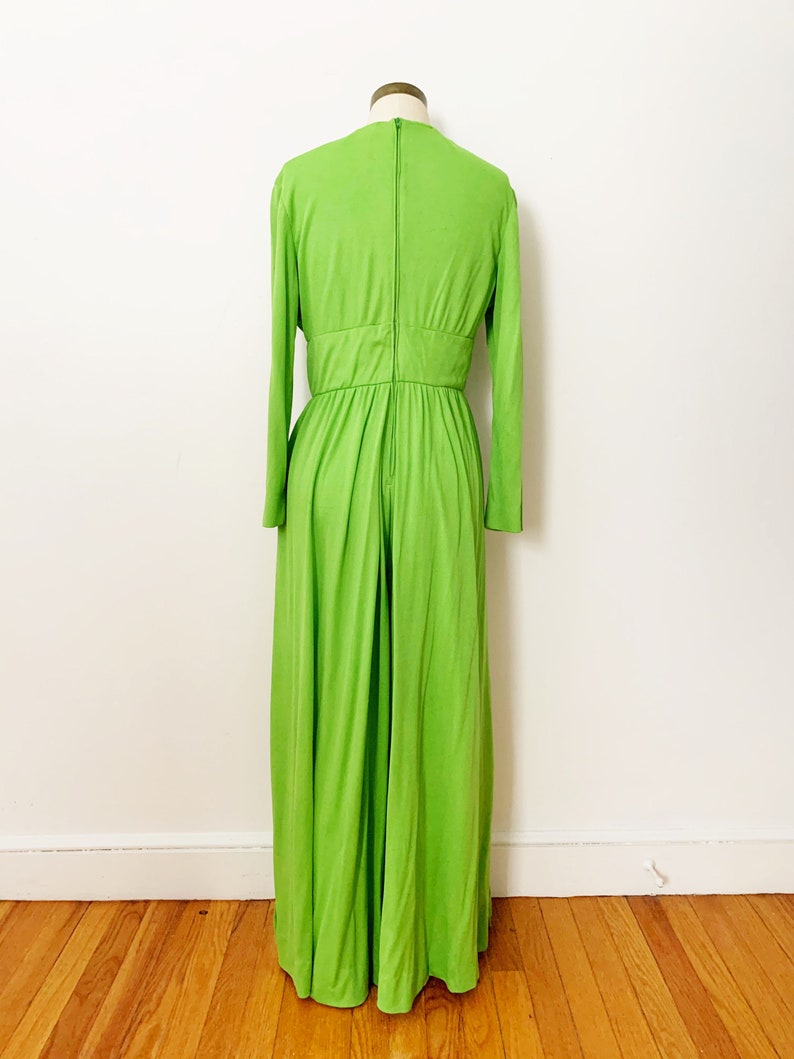1970s 70s Vintage Lime Green Jersey Lace-up Wide Leg Jumpsuit  Medium