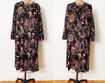 1970s / 70s Vintage Dark Floral Dress and Matching Vest / 1X / 2X