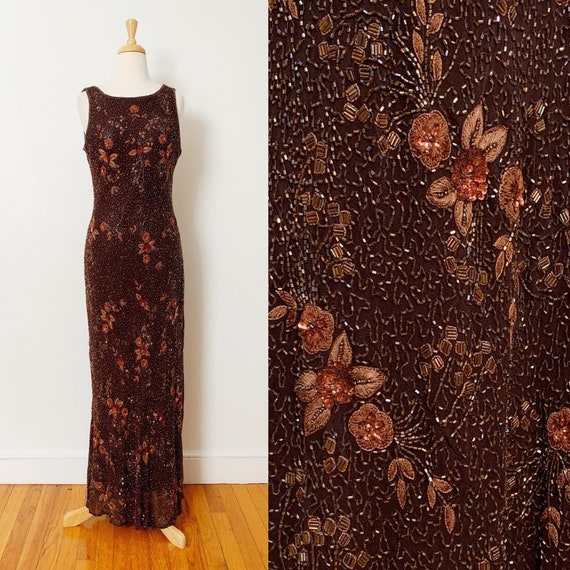 1990s / 90s Vintage Brown Floral Beaded Evening Go