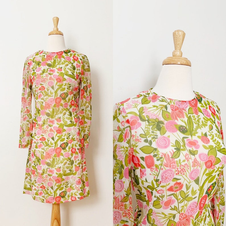 1960s  60s Vintage Mod Floral Print Voile Dress  Extra Small XS