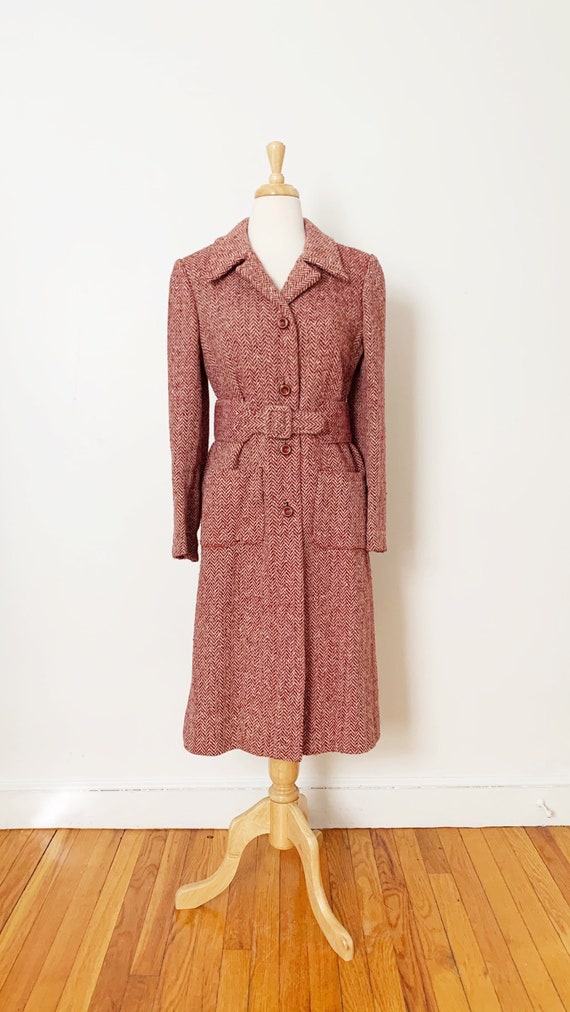 1970s / 70s Pink Purple Tweed Wool Belted Trench … - image 2