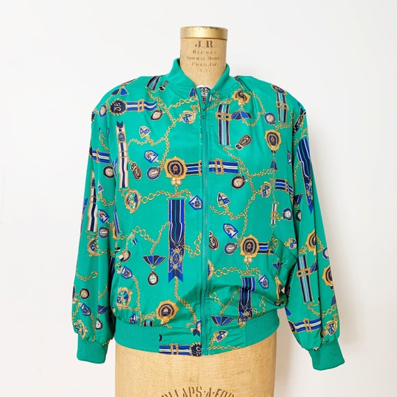 Vintage Silk Blouse Abstract Print Oversized Button Down Shirt Retro 90s Top Baroque Silk Scarf Print Blouse 90s Grunge Button Down