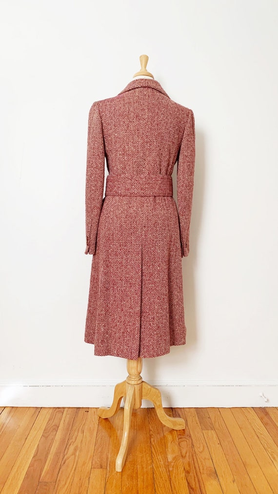 1970s / 70s Pink Purple Tweed Wool Belted Trench … - image 5