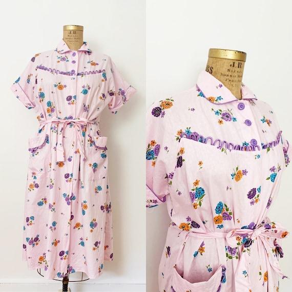 1950s / 50s Vintage Pink Floral Cotton Housecoat /