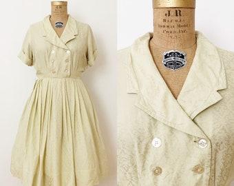 1950s / 50s Vintage Pale Green Silk Dress / Medium / Large