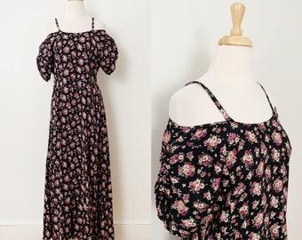 1990s / 90s Vintage Black Floral Off-the-Shoulder Rayon Maxi Dress / Medium