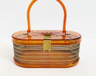 1950s / 50s Vintage Orange Lucite and Metal Purse / Handbag / Bag