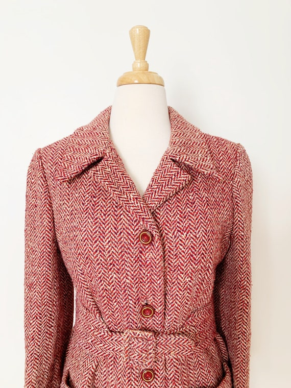 1970s / 70s Pink Purple Tweed Wool Belted Trench … - image 3