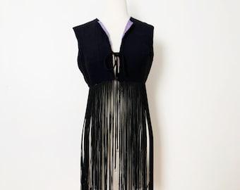 1960s / 60s Vintage Black Fringe Tassel Vest / Small