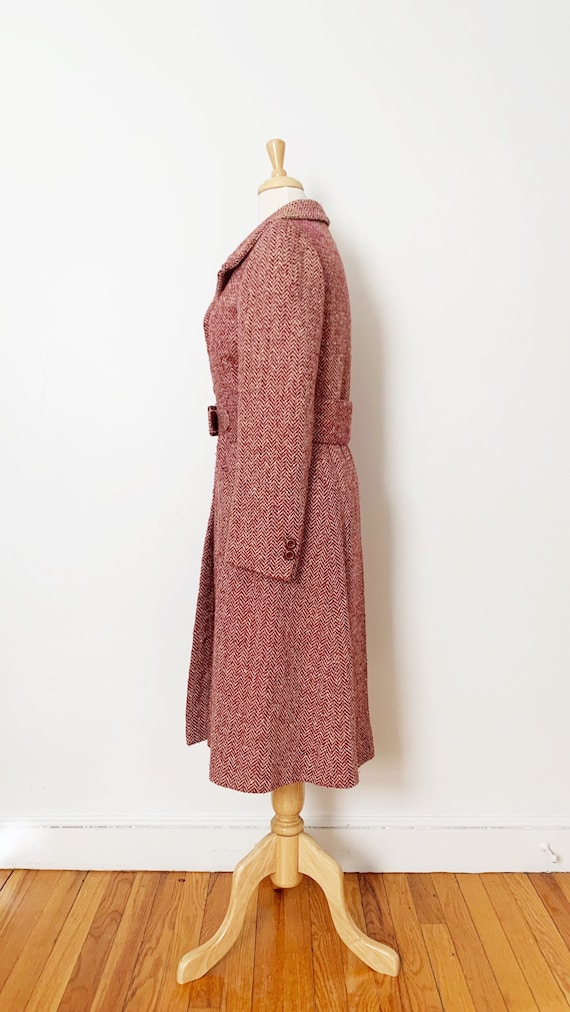 1970s / 70s Pink Purple Tweed Wool Belted Trench … - image 6