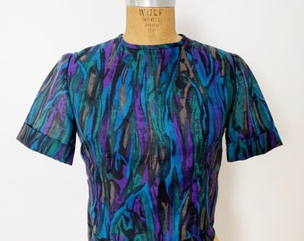 1950s / 50s Vintage Abstract Print Blouse / Top / Small