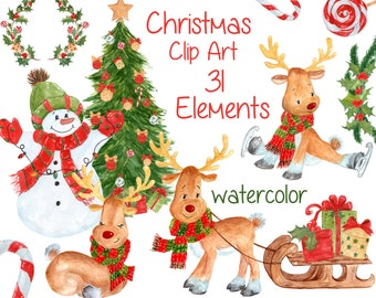 Christmas Clip Art.3 For 2 Watercolor Christmas Clip Art Rose Gold Clipart