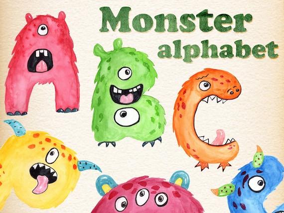 Monster kids alphabet clipart: MONSTER LETTERS | Etsy