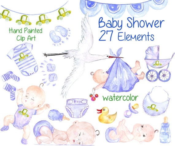 Watercolor Baby Boy Clipart Baby Shower Clipart Etsy