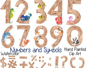 """Watercolor kids numbers clipart: """"WOOD NUMBERS CLIPART"""" Animal numbers Hand Painted Kids symbols back to school cute numbers kids clipart"""