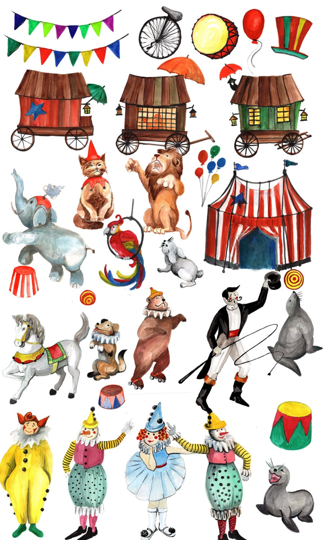 circus clipart kids clip art vintage circus art fun clowns rh etsystudio com Circus Ringmaster Clip Art Circus Ringmaster Clip Art