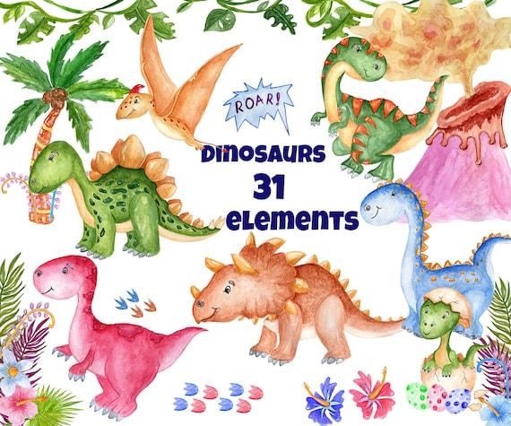 watercolor dinosaur clipart cute dinosaur kids etsy
