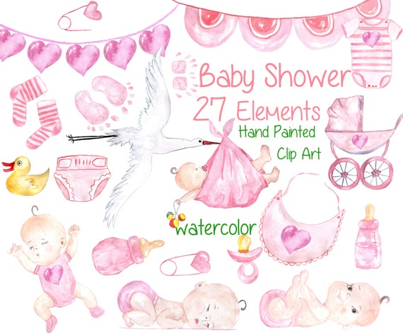 Watercolor Baby Girl Clipart Baby Shower Clipart Etsy