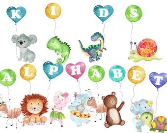 "Kids alphabet clipart: ""PARTY ALPHABET"" Funny alphabet,Animal Alphabet,Kids clipart,Alphabet scrapbook,Baby shower clipart,Colorful Alphabet"
