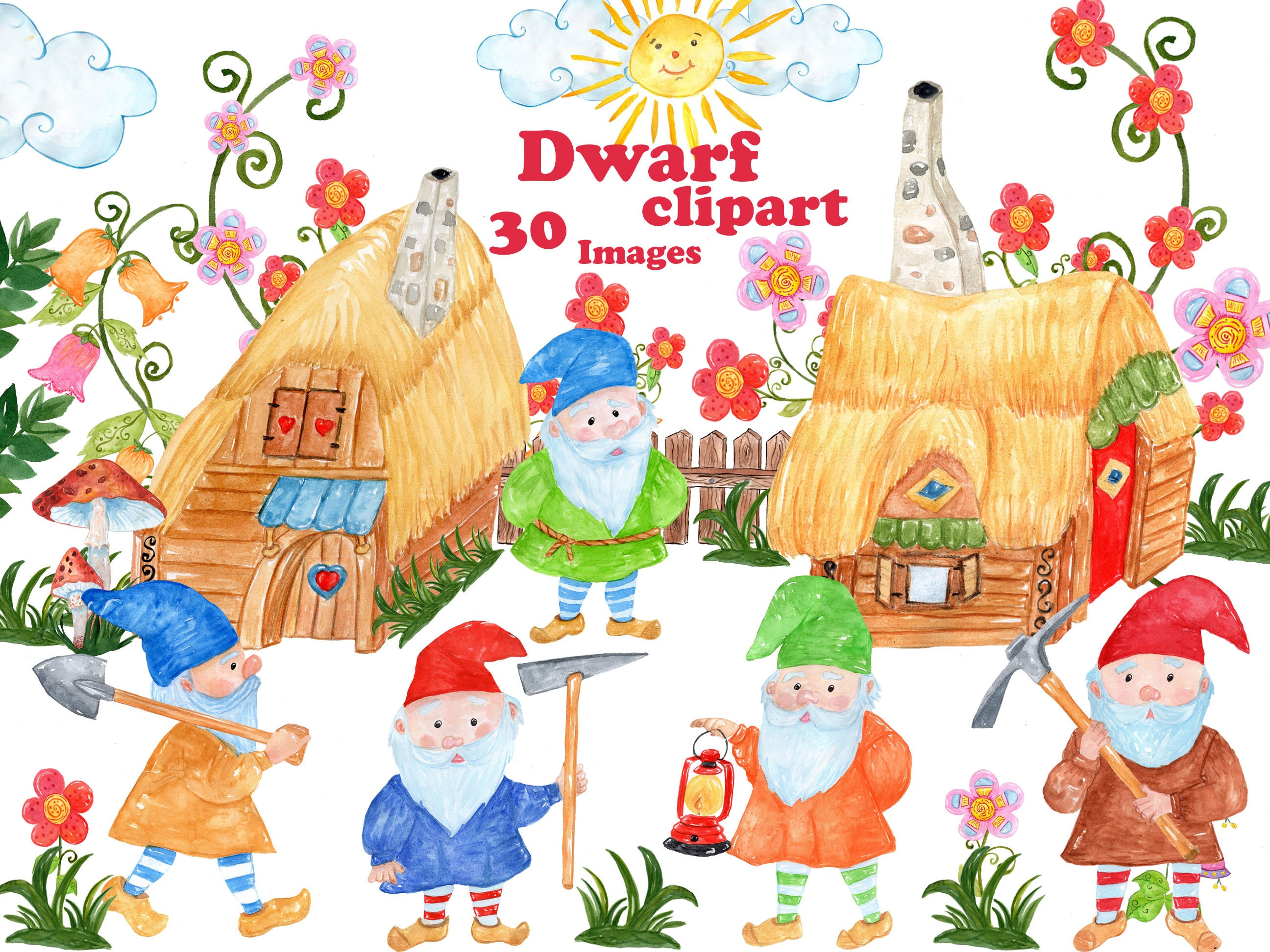Gnome Clip Art: Gnome Clipart: WATERCOLOR CLIPART Dwarf