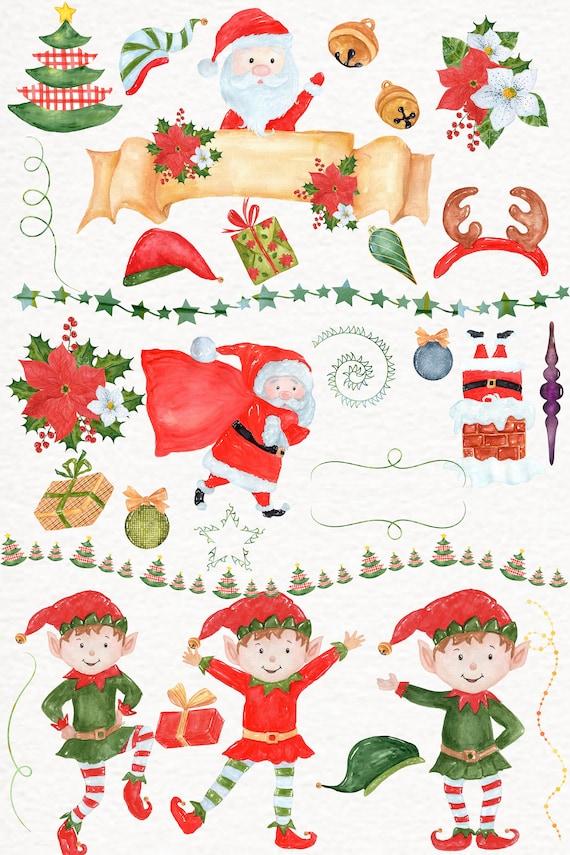 Watercolor Christmas clipart: SANTA CLAUS CLIPART | Etsy