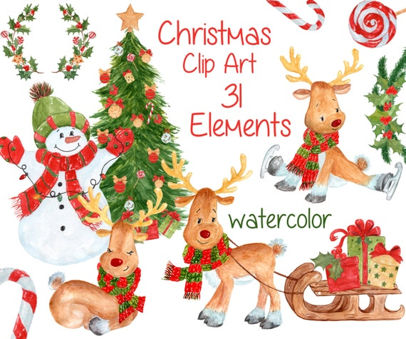 Christmas Gifts Clip Art.Watercolor Christmas Clipart Christmas Clip Art Kids Clipart Cute Holiday Clipart Reindeer Clipart Christmas Gift Ornaments Tree Clipart