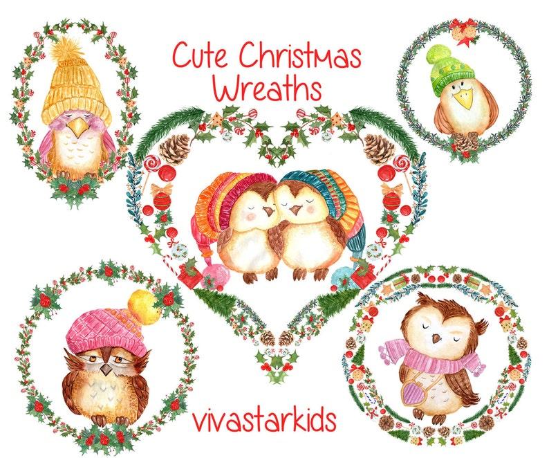 Weihnachtskarten Clipart.Aquarell Weihnachten Kränze Cliparts Cute Kränze Kinder Clip Kunst Vögeln Urlaub Clipart Winter Clipart Weihnachtskarten
