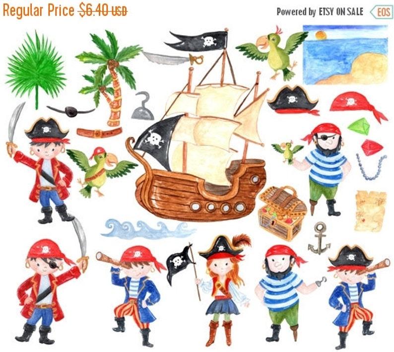 Pirate kids clipart WATERCOLOR PIRATES Cute pirate clipart Pirate Party Pirate invitation Pirate Ship Clipart Little Pirate Kids invites