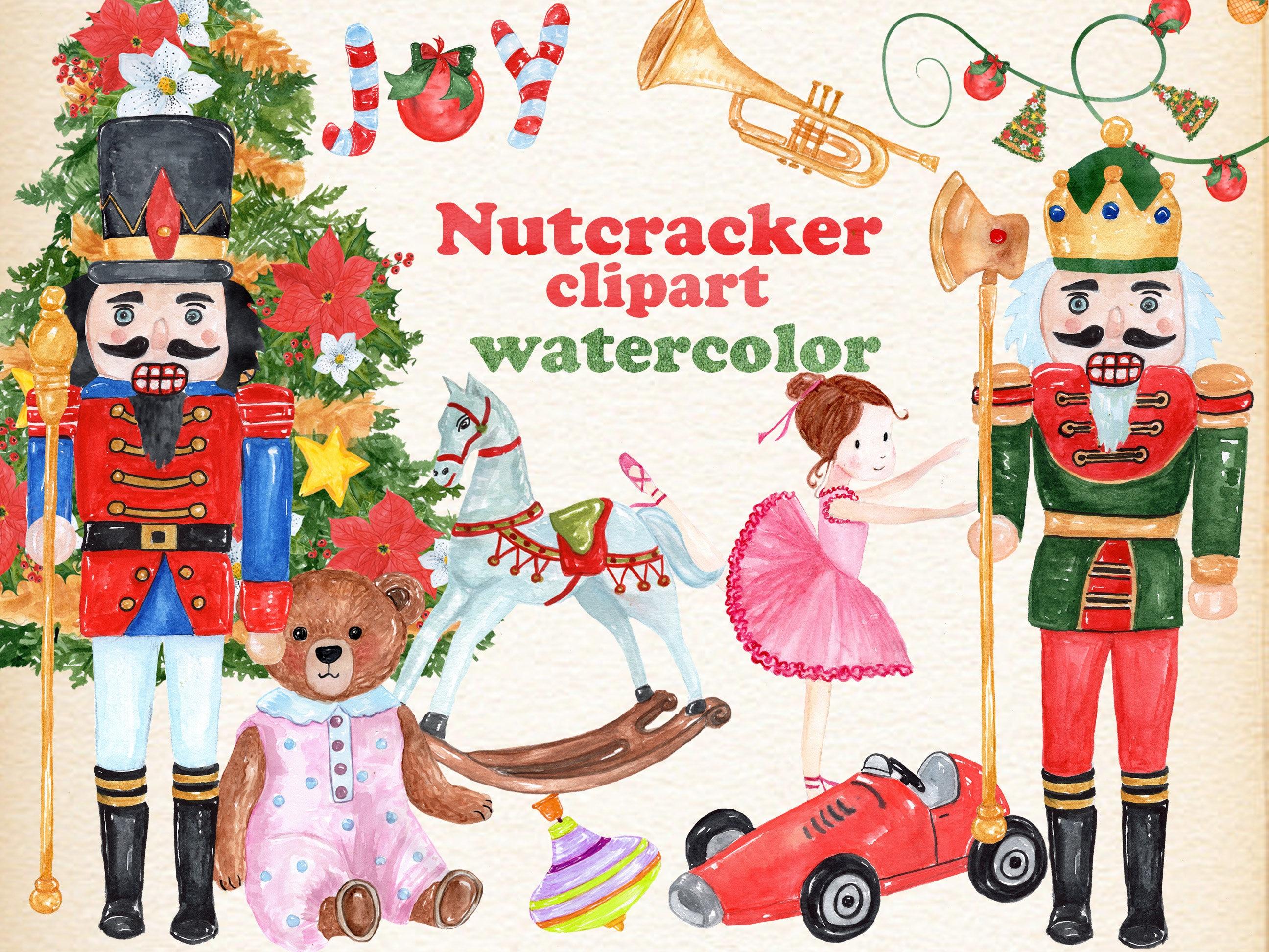 Watercolor Christmas clipart: NUTCRACKER CLIPART | Etsy
