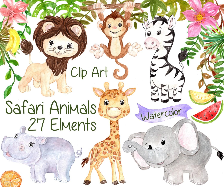 Watercolor Safari clipart: SAFARI ANIMALS CLIPART | Etsy