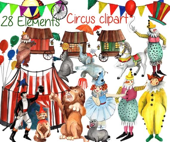 circus clipart kids clip art vintage circus art etsy rh etsy com vintage circus clipart Big Top Circus Clip Art