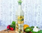 Mediterranean kitchen, olive oil glass bottle, vinegar dispenser, cooking utensils, italian table restaurant decoration