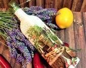 Mediterranean kitchen decor, olive oil vinegar cruet, glass bottle dispenser, cooking utensils, table restaurant decoration, chef cook gift