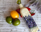 Lavender olive oil vinegar dispenser, glass cruet, purple kitchen table decoration, foodie chef cook birthday
