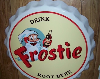 Frostie Root Beer 1960/'s  Vintage Advertising Poster 10 Cents Off on a Carton