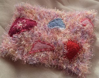 Cowl, Snood, neck warmer, knitted wool hairy acrylic fancy pink and blue and pink acrylic and wool