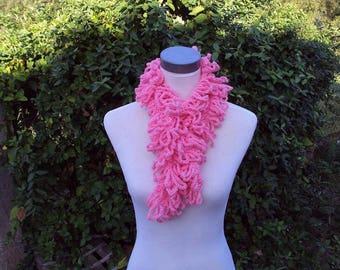 Pink collar, wool blend crochet scarf
