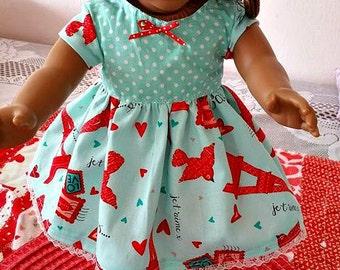 PARIS Print Dress for Dolls